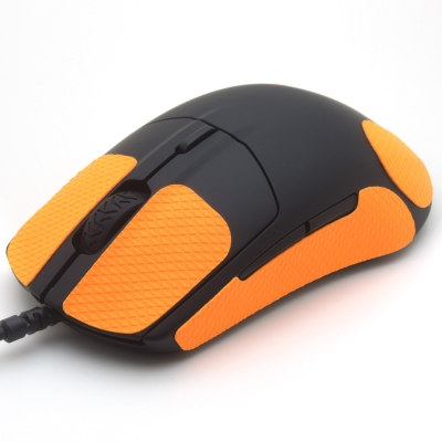 Mouse grip tape for SteelSeries Rival 3 from the brand TrueGrip - front left view